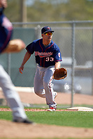Minnesota Twins Zander Wiel (33) during a minor league Spring Training intrasquad game on March 15, 2016 at CenturyLink Sports Complex in Fort Myers, Florida.  (Mike Janes/Four Seam Images)