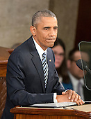 United States President Barack Obama delivers his final State of the Union Address in the US House Chamber in the US Capitol on Tuesday, January 12, 2016.<br /> Credit: Ron Sachs / CNP<br /> (RESTRICTION: NO New York or New Jersey Newspapers or newspapers within a 75 mile radius of New York City)