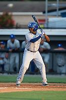 DJ McKnight (8) of the Bluefield Blue Jays at bat against the Burlington Royals at Burlington Athletic Park on June 29, 2015 in Burlington, North Carolina.  The Royals defeated the Blue Jays 4-1. (Brian Westerholt/Four Seam Images)