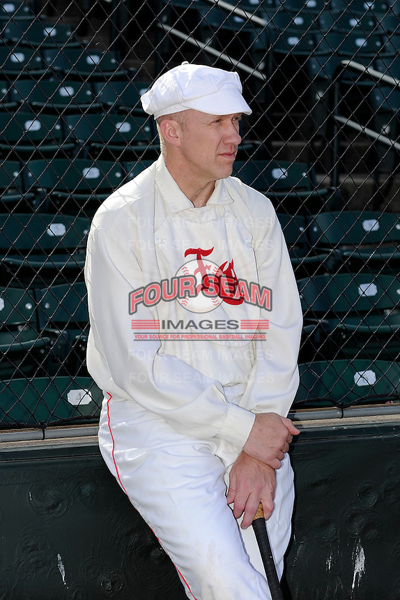 Scott Peters before participating in an exhibition to show how base ball was played in the 19th century before an International League game between the Durham Bulls and Rochester Red Wings on May 17, 2013 at Frontier Field in Rochester, New York.  (Mike Janes/Four Seam Images)
