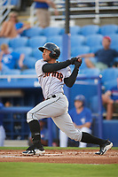 Jupiter Hammerheads designated hitter James Nelson (19) follows through on a swing during a game against the Dunedin Blue Jays on August 14, 2018 at Dunedin Stadium in Dunedin, Florida.  Jupiter defeated Dunedin 5-4 in 10 innings.  (Mike Janes/Four Seam Images)