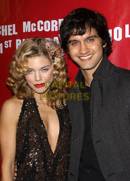 ANNALYNNE McCORD & MICHAEL STEGER.Rachel McCord's 21st Birthday Party held at the Mondrian Hotel's Sky Bar, West Hollywood, California, USA. .October 27th, 2009 .half length red lipstick white dress brown black beads beaded sequins sequined plunging neckline cleavage grey gray jacket.CAP/ADM/KB.©Kevan Brooks/AdMedia/Capital Pictures.