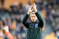 7th March 2020; Molineux Stadium, Wolverhampton, West Midlands, England; English Premier League, Wolverhampton Wanderers versus Brighton and Hove Albion; Graham Potter  Manager of Brighton & Hove Albion applauds the fans