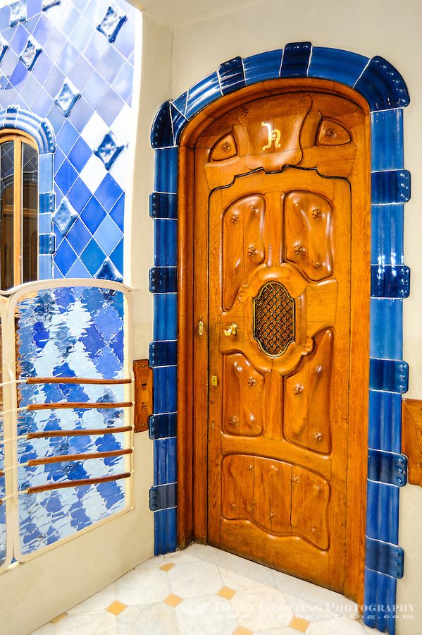 Spain, Barcelona. Casa Batlló is one of Antoni Gaudí's masterpieces. The atrium