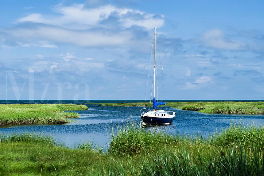 Sailboat docked in salt marsh, Yarmouth, Cape Cod, Massachusetts, USA