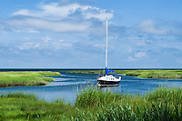 Sailboat docked in salt marsh, Yarmouth, Cape Cod, Massachusetts, USA