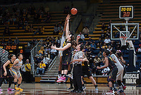 Reshanda Gray of California tips off during the game against Arizona State at Haas Pavilion in Berkeley, California on February 16th, 2014.  California defeated Arizona State, 74-63.
