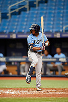 Wander Franco (13) at bat during the Tampa Bay Rays Instructional League Intrasquad World Series game on October 3, 2018 at the Tropicana Field in St. Petersburg, Florida.  (Mike Janes/Four Seam Images)