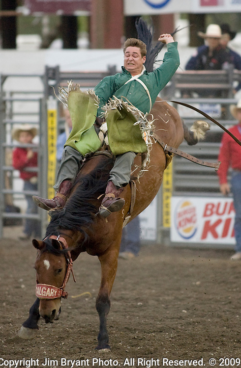 Royce Ford, from Briggsdale, CO, holds onto Lurking News during the Bareback  Riding event at the Kitsap County Fair and Stampede  held Aug. 26 to Aug. 30, 2009 in Silverdale, WA.  Jim Bryant Photo. All Right Reserved. © 2009