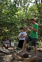 Jeremy John, one of the founding members of the ecumenical Christian movement known as Occupy Church, speaks to a group of Wild Goose Festival-goers on June 22, 2012, the second afternoon of the four-day festival, held at the Shakori Hills Community Arts Center in Pittsboro, NC.