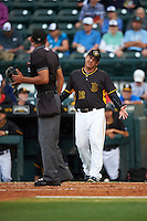 Bradenton Marauders manager Michael Ryan (12) argues a call with home plate umpire Edwin Moscoso during a game against the Lakeland Flying Tigers on April 16, 2016 at McKechnie Field in Bradenton, Florida.  Lakeland defeated Bradenton 7-4.  (Mike Janes/Four Seam Images)