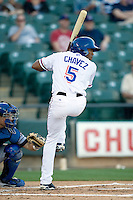 Round Rock Express outfielder Endy Chavez at bat against the Omaha Storm Chasers in Pacific Coast League baseball on Monday April 11th, 2011 at Dell Diamond in Round Rock Texas.  (Photo by Andrew Woolley / Four Seam Images)