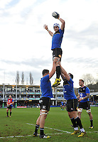 David Denton of Bath Rugby wins the ball at a lineout during the pre-match warm-up. European Rugby Champions Cup match, between Bath Rugby and RC Toulon on January 23, 2016 at the Recreation Ground in Bath, England. Photo by: Patrick Khachfe / Onside Images