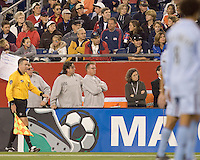 New England Revolution head coach (R) Steve Nicol and assistant coach Paul Mariner look on during the second half. The New England Revolution defeated the Colorado Rapids, 1-0, at Gillette Stadium in Foxboro, MA on September 29, 2007.