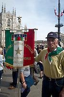 A veteran of war in Dome Square during 25 April demonstration italian liberation of Nazi Fascism World War II thanks by partigiani, on April 25, 2014. Photo: Adamo Di Loreto/BuenaVista*photo