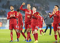 26th December 2019; King Power Stadium, Leicester, Midlands, England; English Premier League Football, Leicester City versus Liverpool; Liverpool players clapping to thank the Liverpool supporters after the match - Strictly Editorial Use Only. No use with unauthorized audio, video, data, fixture lists, club/league logos or 'live' services. Online in-match use limited to 120 images, no video emulation. No use in betting, games or single club/league/player publications