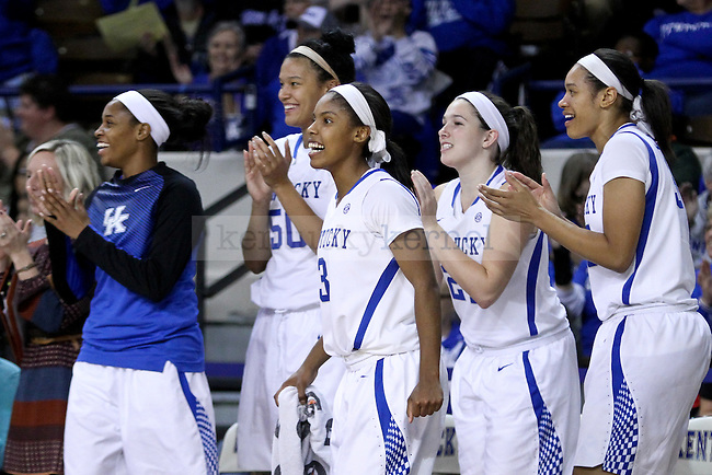 The Kentucky bench celebrates after scoring during the second half of the UK Hoops vs Pikeville at Memorial Coliseum in Lexington. KY., on Thursday, November 4, 2014. Photo by Jonathan Krueger | Staff