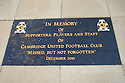 Memorial stone before the Blue Square Bet Premier match between Cambridge United and York City at the Abbey Stadium, Cambridge on 19th March, 2011.© Kevin Coleman 2011