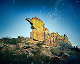 MADAGASCAR, rock formation against blue night sky, stars, Isalo National Park