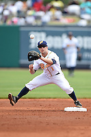 Montgomery Biscuits second baseman Ryan Brett (1) waits for a throw during a game against the Mississippi Braves on April 22, 2014 at Riverwalk Stadium in Montgomery, Alabama.  Mississippi defeated Montgomery 6-2.  (Mike Janes/Four Seam Images)