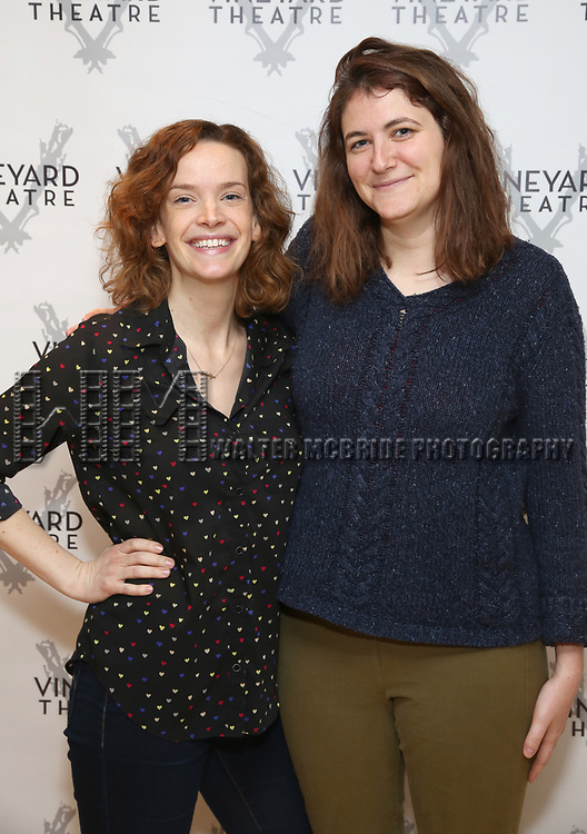 """Margot Bordelon and Mara Nelson-Greenberg attends the photo call for the Vineyard Theatre production of """"Do You Feel Anger?"""" at the Vineyard Theater Rehearsal studio Theatre on February 14, 2019 in New York City."""