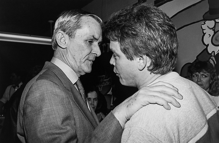 Rep. Bill Lipinski, D-Ill., chats with a constituent at St. Linus Catholic Church in South Chicago. Large money raiser for the Parish, about 1500-2500 people attended the envent on Feb. 29, 1992. (Photo CQ Roll Call via Getty Images)