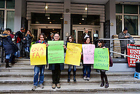 Roma 12 Febbraio  2013.Presidio organizzato dai sindacati davanti l'assessorato alle Politiche Sociali del comune di Roma per il mancato rilancio della Farmacap (Azienda Speciale Farmasociosanitaria Capitolina), che gestisce 44 farmacie, asili nido e il servizio di teleassistenza per gli anziani.