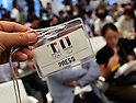 September 1, 2015, Tokyo, Japan - The emblems for the 2020 Tokyo Olympic and Paralympic Games are printed on a press pass issued by the organizing committee for a news conference in Tokyo late Tuesday, September 1, 2015. Following an emergency meeting, the organizing committee decicefd to scrap the emblem designed by Kenjiro Sano some critics said may have been plagiarized. The logo scandal is another embarrassment for Japan, which scrapped the initial design of the main stadium for the Games following a public uproar over its skyrocketing estimated cost. (Photo by Natsuki Sakai/AFLO) AYF -mis-