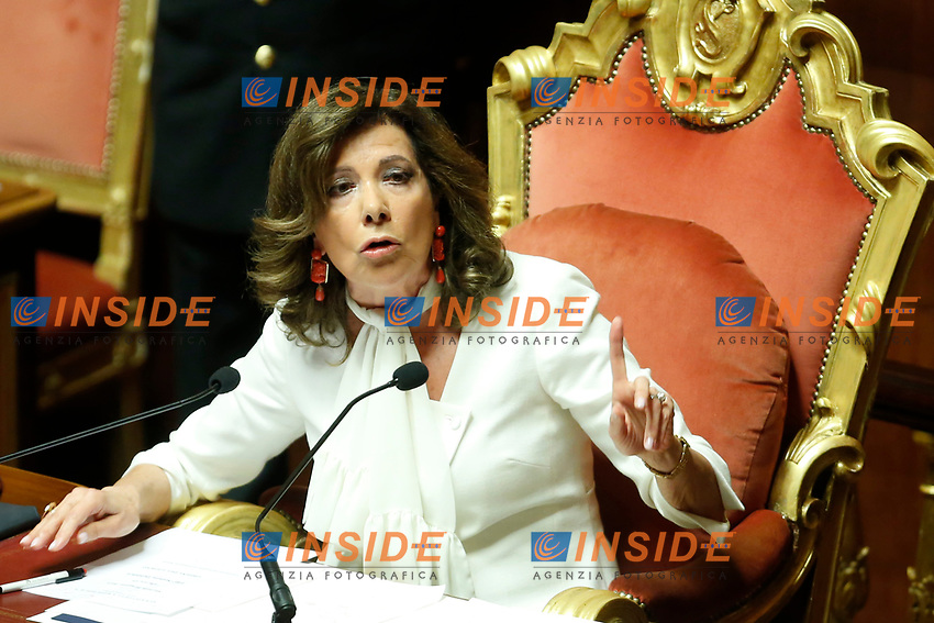 The President of Senate Elisabetta Alberti Casellati<br /> Rome August 13th 2019. Senate. Vote to allow  ore deny the Motion of no confidence to the Italian Government proposed by the Lega Nord party. <br /> Foto Samantha Zucchi Insidefoto