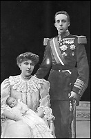 BNPS.co.uk (01202 558833)Pic: PrivateCollection/BNPS<br /> <br /> King Alfonso XIII and Queen Ena of Spain.<br /> <br /> A Russian Grand Duke branded King George V a 'scoundrel' who 'did not lift a finger' to save the Romanov family in the revolution there of 1917, explosive diaries have revealed.<br /> <br /> The cousin of the overthrown Russian Royal family blamed the British King for their executions because he failed to grant them refuge.<br />  <br /> Dmitri Pavlovich no-holds-barred diary extracts have been published for the first time in a new book by respected historian Coryne Hall, To Free The Romanovs.