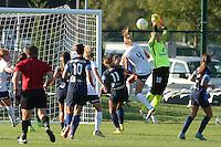 Kansas City, MO - Saturday July 16, 2016: Megan Oyster, Nicole Barnhart during a regular season National Women's Soccer League (NWSL) match between FC Kansas City and the Washington Spirit at Swope Soccer Village.