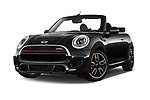 Stock pictures of low aggressive front three quarter view of 2017 Mini Cooper John Cooper Works 2 Door Convertible