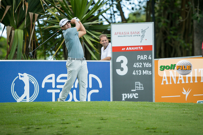 Kurt Kitayama (USA) on the 3rd tee during the 3rd round of the AfrAsia Bank Mauritius Open, Four Seasons Golf Club Mauritius at Anahita, Beau Champ, Mauritius. 01/12/2018<br /> Picture: Golffile | Mark Sampson<br /> <br /> <br /> All photo usage must carry mandatory copyright credit (&copy; Golffile | Mark Sampson)