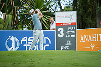 Kurt Kitayama (USA) on the 3rd tee during the 3rd round of the AfrAsia Bank Mauritius Open, Four Seasons Golf Club Mauritius at Anahita, Beau Champ, Mauritius. 01/12/2018<br /> Picture: Golffile | Mark Sampson<br /> <br /> <br /> All photo usage must carry mandatory copyright credit (© Golffile | Mark Sampson)