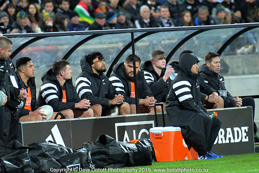 The All Blacks replacements bench during the Rugby Championship rugby union match between the New Zealand All Blacks and South Africa Springboks at Westpac Stadium in Wellington, New Zealand on Saturday, 27 July 2019. Photo: Dave Lintott / lintottphoto.co.nz