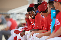 GCL Phillies East shortstop Logan Simmons (21) in the dugout with his teammates during a game against the GCL Blue Jays on August 10, 2018 at Carpenter Complex in Clearwater, Florida.  GCL Blue Jays defeated GCL Phillies East 8-3.  (Mike Janes/Four Seam Images)