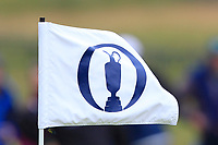 The Open flag on the 13th during the preview of the the 148th Open Championship, Portrush golf club, Portrush, Antrim, Northern Ireland. 17/07/2019.<br /> Picture Thos Caffrey / Golffile.ie<br /> <br /> All photo usage must carry mandatory copyright credit (© Golffile | Thos Caffrey)