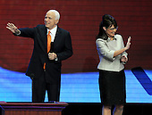 St. Paul, MN - September 3, 2008 -- Governor Sarah Palin of Alaska, right, and United States Senator John McCain (Republican of Arizona) on the podium after she accepted the Republican nomination as Vice President of the United States on day 3 of the 2008 Republican National Convention at the Xcel Energy Center in Saint Paul, Minnesota on Wednesday, September 3, 2008.Credit: Ron Sachs / CNP.(RESTRICTION: NO New York or New Jersey Newspapers or newspapers within a 75 mile radius of New York City)