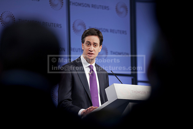 03/02/2011. LONDON, UK. Labour Leader Ed Milliband gives a press conference on finance in London today (03/02/12). Photo credit: Matt Cetti-Roberts