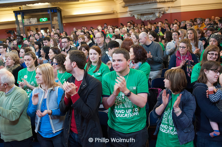 One minute applause in memory of Bob Crow and Tony Benn, Central Hall, Westminster. . Teachers one-day national strike called by the NUT over pay structures, pensions and working hours.
