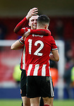 John Egan of Sheffield Utd celebrates with Oli McBurnie of Sheffield Utd during the Premier League match at Bramall Lane, Sheffield. Picture date: 9th February 2020. Picture credit should read: Simon Bellis/Sportimage