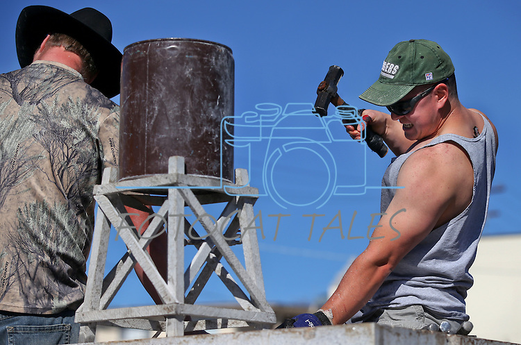 Greg Hosler, of Pueblo, Col., competes in the 39th annual World Championship Single-Jack Rock Drilling competition in Carson City, Nev., on Saturday, Oct. 26, 2013. The event is part of the annual Nevada Day events.<br /> Photo by Cathleen Allison
