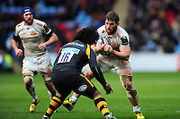 Luke Cowan-Dickie of Exeter Chiefs faces off against Ashley Johnson of Wasps. European Rugby Champions Cup quarter final, between Wasps and Exeter Chiefs on April 9, 2016 at the Ricoh Arena in Coventry, England. Photo by: Patrick Khachfe / JMP