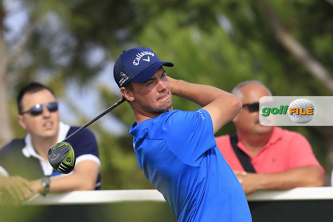 Ben Stow (ENG) tees off the 15th tee during Friday's Round 2 of the Portugal Masters 2015 held at the Oceanico Victoria Golf Course, Vilamoura Algarve, Portugal. 15-18th October 2015.<br /> Picture: Eoin Clarke | Golffile<br /> <br /> <br /> <br /> All photos usage must carry mandatory copyright credit (&copy; Golffile | Eoin Clarke)