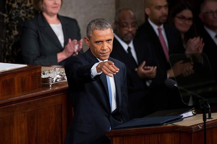 UNITED STATES - JANUARY 20: President Barack Obama delivers his State of the Union address in the in the Capitol's House chamber, January 20, 2015. (Photo By Tom Williams/CQ Roll Call)