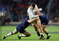 Jonny May of England takes on the Scotland defence. Guinness Six Nations match between England and Scotland on March 16, 2019 at Twickenham Stadium in London, England. Photo by: Patrick Khachfe / Onside Images