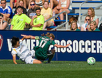 Los Angeles Sol midfielder Aya Miyama (8) takes down St Louis Athletica midfielder Lori Chalupny (17) during a WPS match at Hermann Stadium, in St. Louis, MO, April 25 2009. Miyama received a yellow card on the play. The match ended in a 0-0 tie.