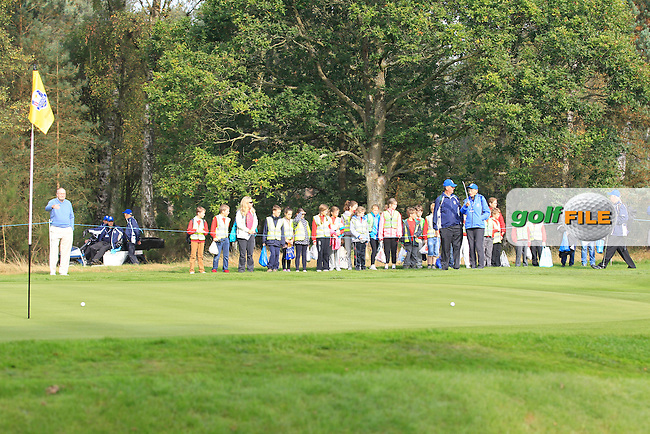 A crowd gathers at the 13th green during the 2014 JUNIOR RYDER CUP at the Blairgowrie Golf Club, Perthshire, Scotland. Picture:  David Lloyd / www.golffile.ie