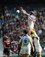Julien Bonnaire of ASM Clermont Auvergne competes in the lineout with Mouritz Botha of Saracens during the Heineken Cup semi-final match between Saracens and ASM Clermont Auvergne at Twickenham Stadium on Saturday 26th April 2014 (Photo by Rob Munro)