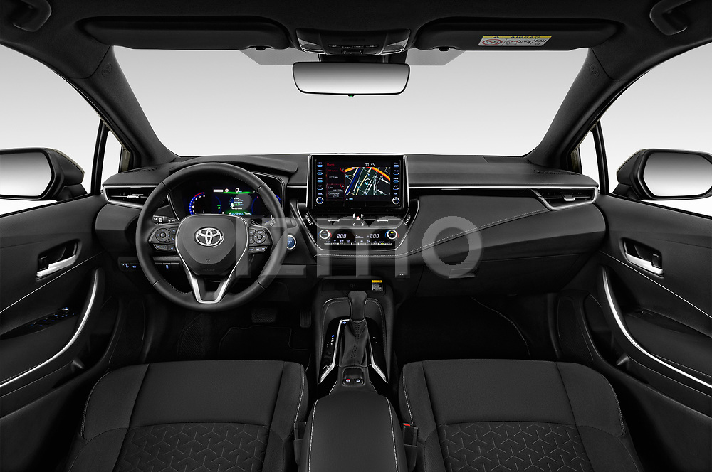 Stock photo of straight dashboard view of a 2019 Toyota Corolla Style 5 Door Hatchback